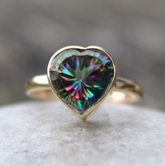 Valentines Day Sale Fire Mystic Topaz Heart Ring - Solid 10KT Gold - Gifts for Her.