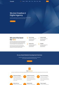 Crunch is a one page corporate Template for Digital Marketing, Web Design, Web Hosting, Startups. Landing Page Examples, Best Landing Pages, Digital Marketing Quotes, Social Media Digital Marketing, Marketing Logo, Marketing Tools, Page Template, Templates, Information Technology