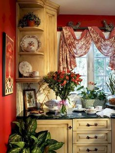 58 Beautiful French Country Style Kitchen Decor Ideas I like the curtain! Modern French Country, French Country Kitchens, French Country Bedrooms, French Country Living Room, Country Farmhouse Decor, French Cottage, French Farmhouse, Country Bathrooms, Rustic French