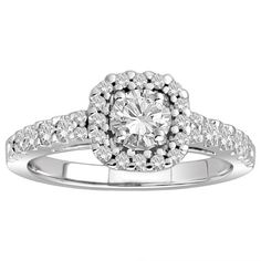 18k White Gold .60 ct Round Center Diamond with Halo Engagement Ring (1.15 cttw, H-I Color, SI1-SI2 Clarity)