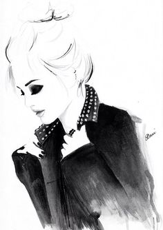 Illustration de mode aquarelle intitulée Punky par FallintoLondon