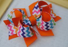 Over the Top Hairbows...Orange Layered Boutique Hair Bow...Toddler Hairbow...Bright Colors Chevron Bow...Baby Hair Clip..Infant Headband