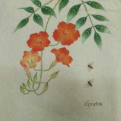 민화 능소화가 그려진 에코백 : 네이버 블로그 Korean Painting, Fabric Art, Flower Art, Hand Painted, Drawings, Drawing Flowers, Blog, Paintings, Painting On Fabric