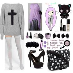LOVE THIS LOOK! very simple but super kawaii and has a pastel goth look to it! Just perfect Pastel Goth Outfits, Pastel Punk, Pastel Goth Fashion, Punk Outfits, Gothic Outfits, Kawaii Fashion, Cute Fashion, Fashion Outfits, Anime Outfits