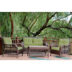 Jeco 4 Piece Resin Wicker Patio Conversation Set (Green Cushion), Patio  Furniture