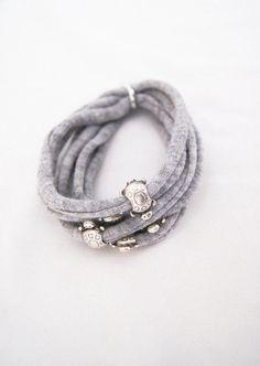T-Shirt Bracelet - Gray wrap bracelet. Statement bracelet from Tshirt yarn - EcoFriendly - turtle