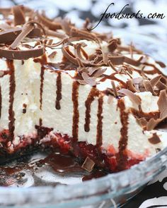 White Chocolate Mousse Cherry Pie - no bake...just make the mousse on the the stove top...assemble & refrigerate