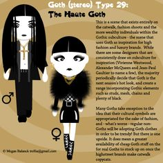 Goth Type 29: The Haute Goth by Trellia on deviantART just for u guys in order to learn more about this awesome subculture!