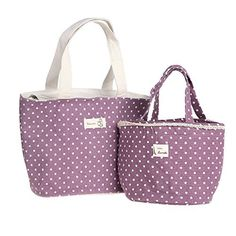 RRRLJL Polka Dot Large Solid Useful Linen Cotton 2pc Fashion Lunch Tote Bag Insulated Lunch Bag Grocery Bags with Zipper (Purple), http://www.amazon.com/dp/B00VHKYIK0/ref=cm_sw_r_pi_awdm_o6sPwb1XJWNXQ