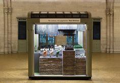 architecture, design, interior, beauty, skincare, kiosk, newspaper, reclaim, reuse, retail, boutique, pop-up, aesop