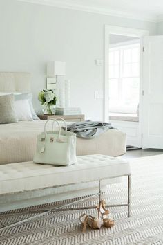 A mint green bedroom!  So relaxing.  Love the mint green Hermes Birkin at the end of the bed too!  My kind of room and purse! http://cococozy.com