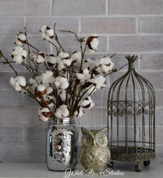 Cotton Boll Stems in Mercury Glass Mason Jar | Cotton Boll Decor | Southern Decor | Country Decor | Gift for Home by WhiteDoorStudios on Etsy https://www.etsy.com/listing/276130572/cotton-boll-stems-in-mercury-glass-mason