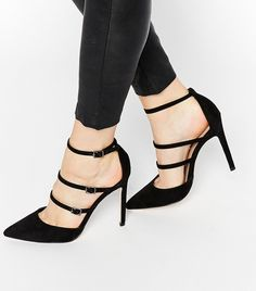 Discover a range of high heels with ASOS. Fromt black heels to bright silver, browse our range of classic peep toes, pumps or strappy sandals from ASOS. Strap Heels, Pumps Heels, Stiletto Heels, Walking In Heels, Mode Shoes, Asos Shoes, Beautiful High Heels, Black High Heels, Black Shoes