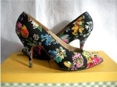 FLoral shoes with sequins by Rayne 1959