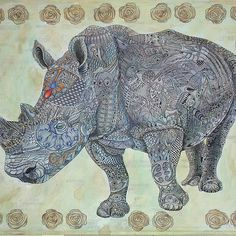 'African Rhino' by ValMyburgh African Rhino, Game Reserve, Mixed Media Painting, Painting & Drawing, Moose Art, Elephant, Paintings, Drawings, Animals