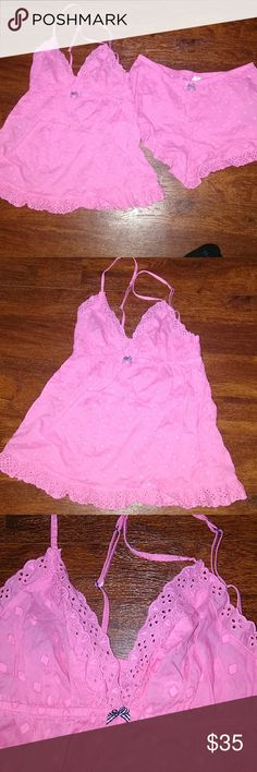 ❤️ VICTORIA SECRET PINK h2 Piece Pjs Cami & Shorts Super Cute Victoria Secret Pink lounge / pj outfit including Cami and shorts. Good very gently used.  ❤️ You will love it! PINK Victoria's Secret Intimates & Sleepwear Pajamas