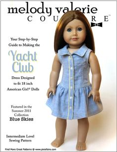 Pixie Faire Melody Valerie Couture Yacht Club Dress Doll Clothes Pattern for 18 inch American Girl Dolls - PDF Ropa American Girl, American Girl Dress, American Doll Clothes, Ag Doll Clothes, Doll Clothes Patterns, Clothing Patterns, Doll Patterns, Ag Clothing, Pdf Patterns