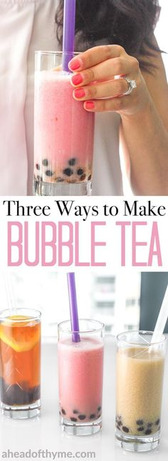 Three Ways to Make Bubble Tea Quench your thirst with refreshing, healthy, homemade bubble tea. Check out 3 easy, guilt-free recipes today! Tea Recipes, Smoothie Recipes, Dessert Recipes, Cake Recipes, Detox Recipes, Brunch Recipes, Yummy Drinks, Healthy Drinks, Healthy Lunches