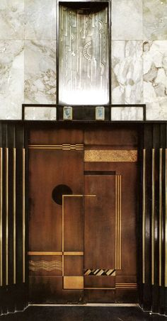| P | Art Deco Elevator Doors, Jock D. Peters with Feil & Paradise Architects. Bullocks Wilshire, Los Angeles, 1929