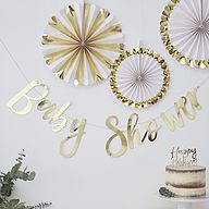 Gold Baby Shower Banner, Gold Baby Shower Bunting, Neutral Baby Shower Decorations, Gender Reveal Party Gold Banner, New Baby Party Baby Shower Party Deko, Baby Shower Elegante, Décoration Baby Shower, Decoracion Baby Shower Niña, Babyshower Party, Baby Shower Bunting, Baby Shower Backdrop, Baby Bunting, Baby Shower Wall Decor