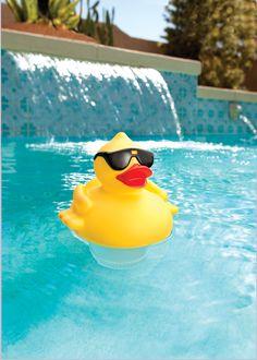 Solar Power Light Up Derby Duck Floating Chlorinator Cleaning Pool Light Sensor Swimming Pool Stores, Cool Swimming Pools, Solar Powered Lights, Solar Lights, Hot Tub Accessories, Solar Power Batteries, Summer Pool, Light Sensor, In Ground Pools