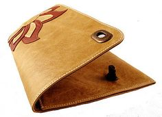 Freeload Accessories handcrafted camel & tan leather 'Fleur' clutch bag.