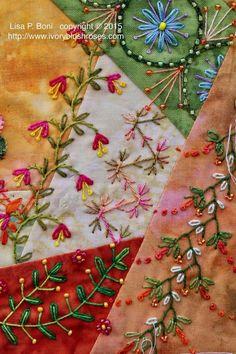 Hand Embroidery Stitches, Silk Ribbon Embroidery, Embroidery Patterns, Quilt Patterns, Machine Embroidery, Block Patterns, Crazy Quilt Stitches, Crazy Quilt Blocks, Crazy Quilting