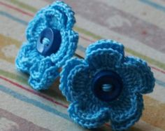 Merrill Crochet Flower Earrings- Aqua