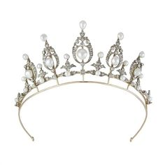 A late Victorian pearl and diamond tiara ($54,255) ❤ liked on Polyvore featuring accessories, hair accessories, tiaras, crowns, crown tiara, tiara crown, diamond hair accessories, diamond tiara and pearl hair accessories