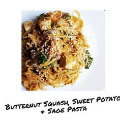 Nothing screams autumn quite like a bowl of pasta flavoured with squash. Pumpkin can easily be substituted for the butternut squash as well as the sweet potato. However, I love the flavour and text… Vegan Blogs, Vegan Recipes, The Dish, Butternut Squash, Japchae, Sweet Potato, Sage, Spaghetti, Potatoes
