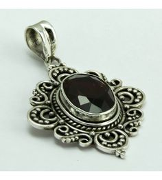 Love Bloom !! Garnet 925 Sterling Silver Pendant, Weight: 9.4 g, Stone - Garnet, Size - 4.9x3.0 cm, Wholesale Orders Acceptable, All Pieces have 925 Stamp