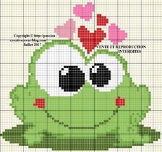 Grille gratuite point de croix : Une petite grenouille amoureuse - Passion creative
