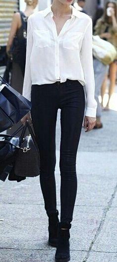 white shirt, black pants