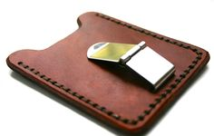 Mens acorn brown leather credit card wallet with money clip - personalized initial - monogrammed. $33.50