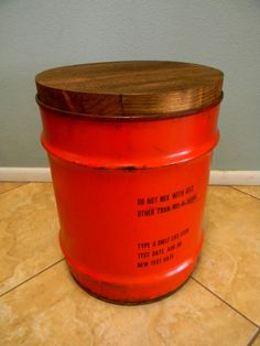 Industrial Stool / End Table / Night Stand / Seating   Reclaimed Jet Fluid  Drum With