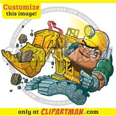 Backhoe clipart cartoon Construction Worker - Clipartman.com