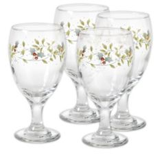 Winterberry Footed Beverage Glasses, Set of 4 from Pfaltzgraff.com.  16 oz