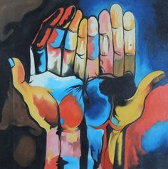 GUAYASAMIN DIVERSITY HANDS - repro acrylic abstract painting canvas Ecuador Art #Abstract