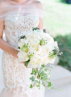 Elegant green and white peony bridal bouquet {Facebook and Instagram: The Wedding Scoop}