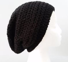 Black  Beanie Hat Baggy Slouchy Winter Ski Beret Chic Skull Cap Hipster #Handmade #Beanie