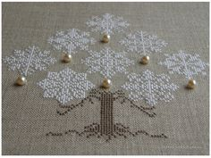 Snow Christmas Tree, design by The Cricket Collection ''Snow Christmas tree'' Cross Stitching, Cross Stitch Embroidery, Embroidery Patterns, Cross Stitch Patterns, Christmas Tree With Snow, Christmas Cross, Christmas Diy, Swedish Weaving, Sewing Stitches