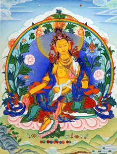 "ARYA TARA TASHI DONJED: ""Homage, Mother, whose diadem is a crescent moon, blazing with all her ornaments, ever shining with the brilliant light of Amitabha in her piled hair."""
