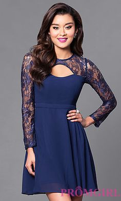 Long-Sleeve Short A-Line Dress with Cut Outs at PromGirl.com