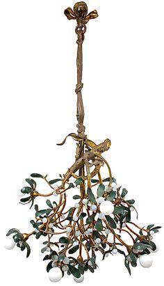Circa 1915 Art Nouveau Bronze Mistletoe Chandelier