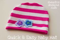 Quick and easy baby and kid hats tutorial. This simple sewing tutorial is perfect for gift giving!