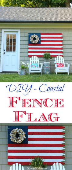 Show your patriotism with this huge DIY fence flag. See how to make your own wood flag with a coastal flair from an unexpected oyster shell wreath.