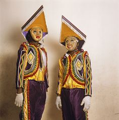 Phyllis Galembo, Two in Fancy Dress with Pointed Hats, Tumus Masquerade Group, Winneba, Ghana, 2009