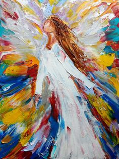 Original oil painting #Angel Rising abstract by Karensfineart