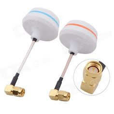 5.8G Right Angle SMA Male Antenna Gains FPV Aerial Photo RC Airplane - White (Pair). A brand new design, 5.8 G Antenna gains for FPV aerial photo. All the products have a strict test, the standing-wave ratio is lower than 1.5. This is exactly the first choice for FPV, and it can effectively expand the launch distance and angle. The blue part can bend. GGSM: 5.72G 5.74G. Tags: #Hobbies #Toys #R/C #Toys #Other #Accessories