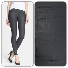 """AG Coated Jeans These raincloud colored jeans get a glossy to coat and AG skinniest silhouette for a sleek body-hugging/30"""" inseam/10"""" leg opening/8 1/2"""" front rise/zip fly with button closure/five pocket style/74"""" cotton/24"""" nylon/2% elastane/machine wash cold/new with tags/thanks for looking                                                               ❌No Trades❌                                                       ❌No PayPal❌ AG Adriano Goldschmied Jeans Skinny"""